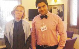 عقیل شفقت نارویجن ایمبیسی اسلام آباد میں سیسلیے لینڈز ورک سے سٹیٹ گیسٹ کی حیثیت سے ملاقات کرتے ہوئے