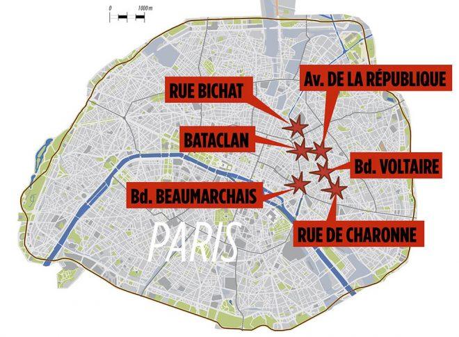 پیرس کے چھ مقامات پر حملوں میں 120 افراد ہلاک۔ ایمرجنسی نافذ