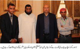 گورنر پنجاب چوہدری محمد سرور سے گورنر ہاوس میں زاہد مصطفی اعوان اور ملکہ میڈیا سنٹر کے ممبران ملاقات کر رہے ہیں