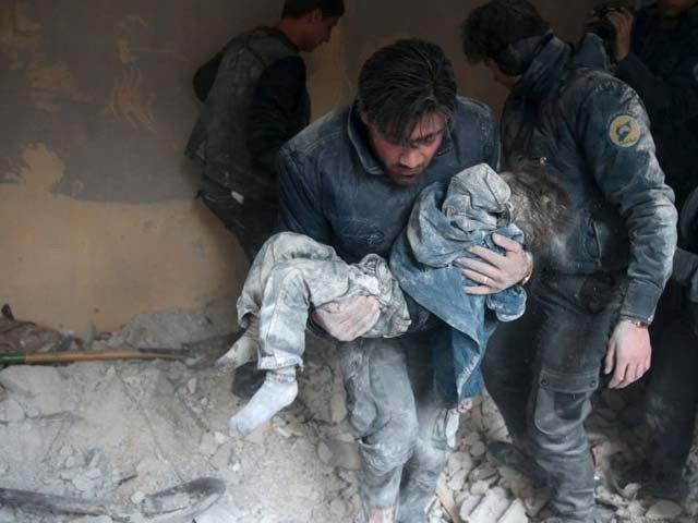 شام میں بشارالاسد اور اتحادی افواج کی بمباری سے 7 بچوں سمیت 14 شہری جاں بحق