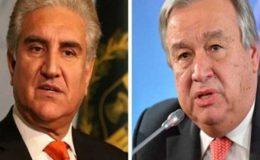 شاہ محمود قریشی اور اقوام متحدہ کے سیکرٹری جنرل کے درمیان رابطہ طے پا گیا