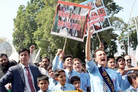 کشمیر میں بھارتی مظام اور کرفیو کے نفاذ کیخلاف ملک بھر میں شہری سراپا احتجاج