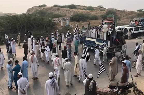 کراچی: جے یو آئی کا حب ریور روڈ پر چوتھے روز بھی دھرنا جاری