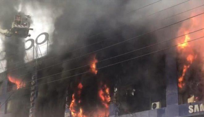 لاہور کی الیکٹرونکس مارکیٹ لگی آگ بے قابو