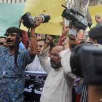Pakistan Journalisten Demonstration Karachi