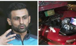 شعیب ملک کی گاڑی کو حادثہ، اسپورٹس کار ٹرک سے ٹکرا گئی